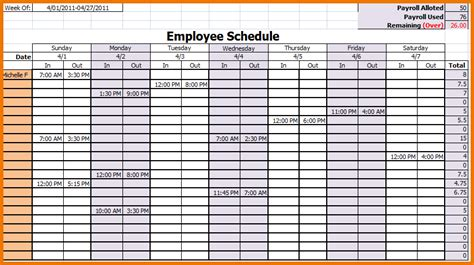 employee calendar template search results for schedule of works template excel