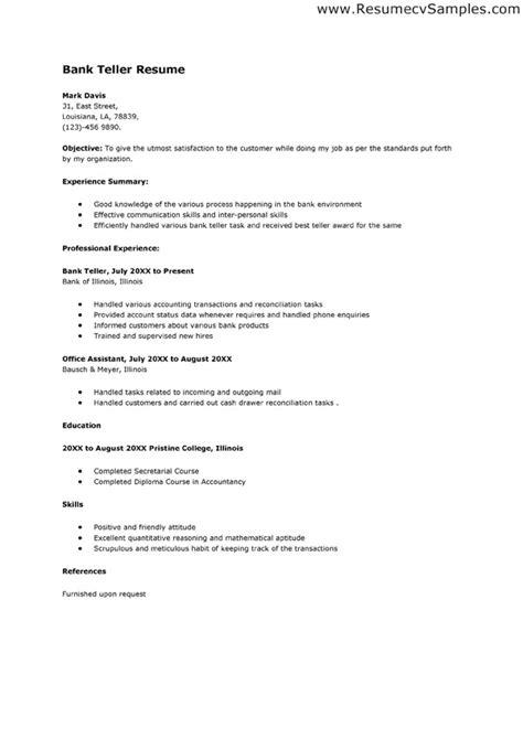 Entry Level Bank Teller Resume Objective Sample Bank Teller Resume  Pinterest Back to Entry Level Bank