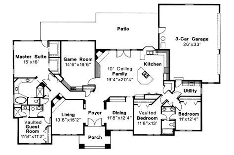 southwest home floor plans southwest house plans barstow 30 050 associated designs