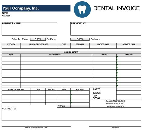 free printable dental invoice free printable spreadsheets part 1 worksheet mogenk
