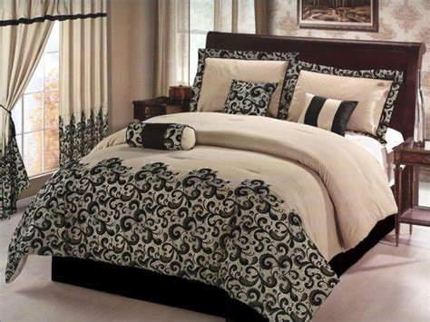 Black And Ivory Bedding Sets 7 Pcs Flocking Paisley Comforter Set Bed In A Bag Black Ivory