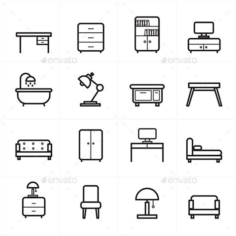 design icon furniture flat line icons for furniture icons vector illustration