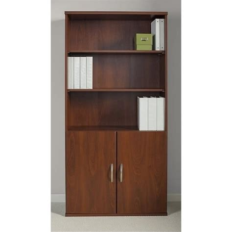 Bowery Hill 5 Shelf Bookcase With Doors In Hansen Cherry 5 Shelf Bookcase With Doors