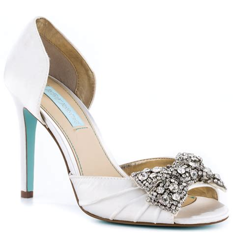 betsey johnson wedding shoes gown ivory satin something blue by betsey johnson 129