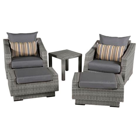 Gray Chair With Ottoman Rst Brands Cannes 5 Patio Club Chair And Ottoman Set With Charcoal Grey Cushions Op Peclb5