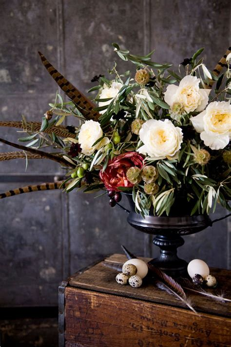 fall centerpieces with feathers thanksgiving centerpiece ideas poppies posies design sponge