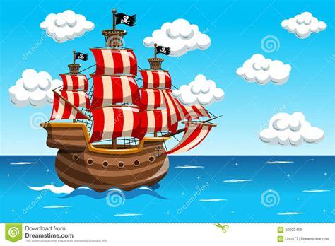 cartoon boat at sea pirate vessel sea ocean stock vector illustration of