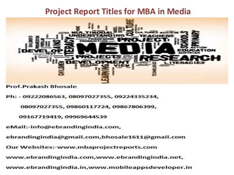 Use Mba In Title by Project Report Titles For Mba In Media