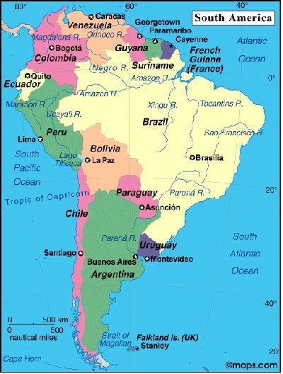 map of south america with cities central south america south america