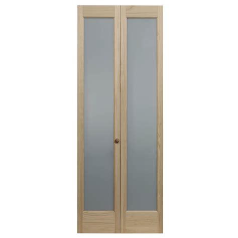 Shop Pinecroft Full Frosted Solid Core 1 Lite Frosted Folding Interior Glass Doors