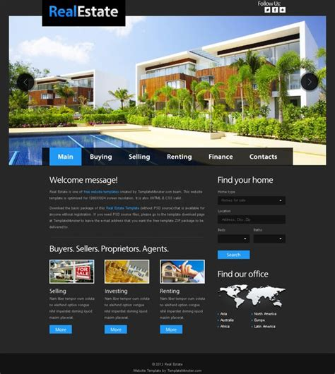free websites free website template for real estate with justslider