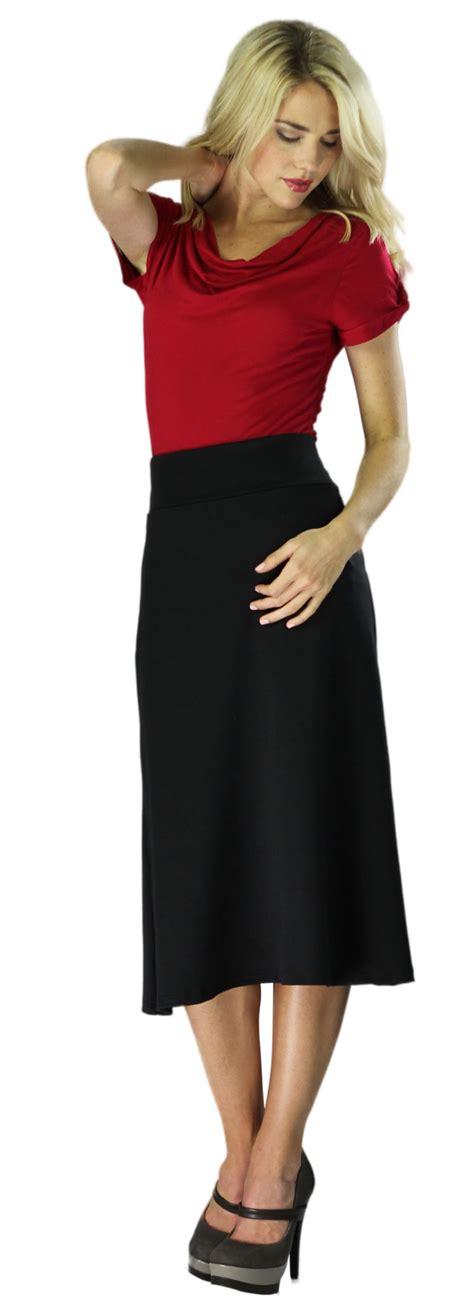 Knit Midi A Line Skirt modest midi skirts in black