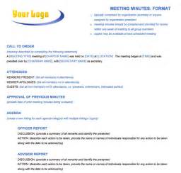 Template Of Meeting Minutes by Free Meeting Minutes Template For Microsoft Word