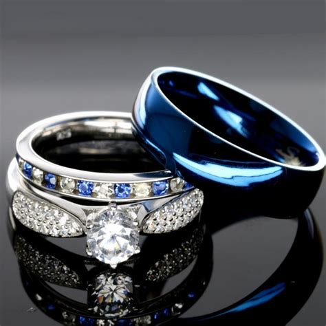 cool 3 wedding ring set his hers cheap wedding
