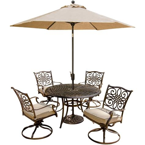 Hanover Traditions 5 Piece Outdoor Patio Dining Set and