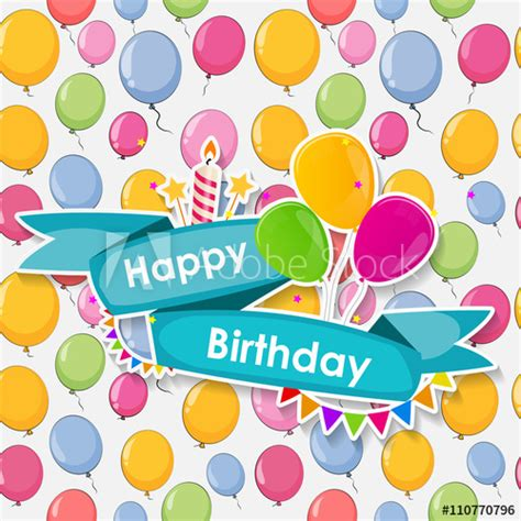 happy birthday card template ilustrator happy birthday card template with balloons vector