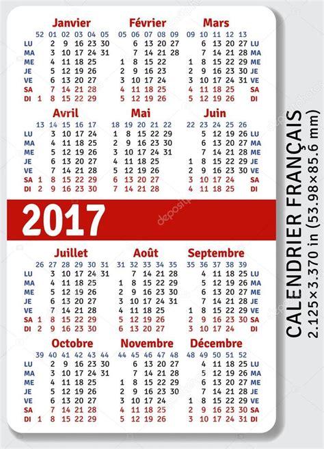 calendrier de poche fran 231 ais pour 2017 image vectorielle