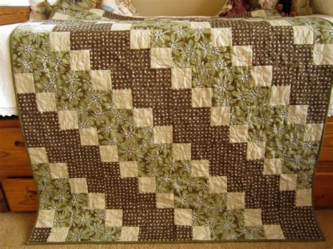 Brown Patchwork Quilt - patchwork quilt brown and green diagonal handmade