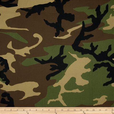 camo upholstery fabric poly cotton twill woodland camouflage brown green black