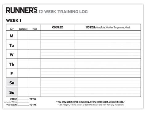 printable running journal print it 12 week training log for runners