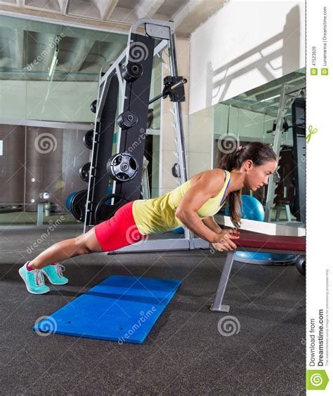 triceps on bench bench triceps push up woman at gym stock photo image