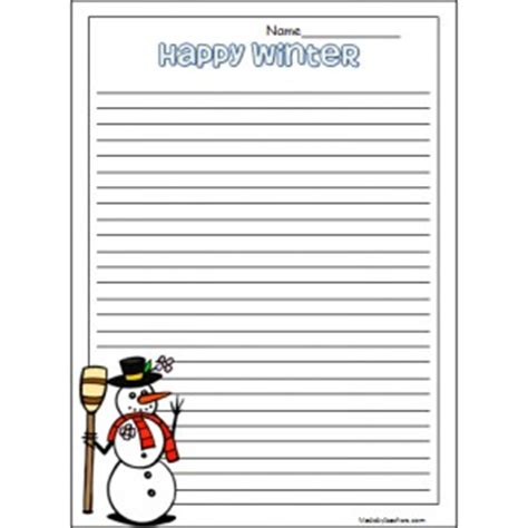 snowman writing paper printable best photos of winter writing template free printable