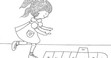 dibujos de niños jugando rayuela paint a drawing dibujo para colorear de ni 241 a jugando a la