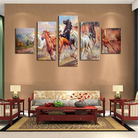 horse decoration for home 2017 5 panel wall art horses painting colorful horse