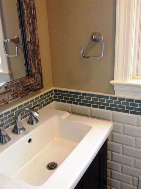 bathroom backsplash with trendy pattern and color home