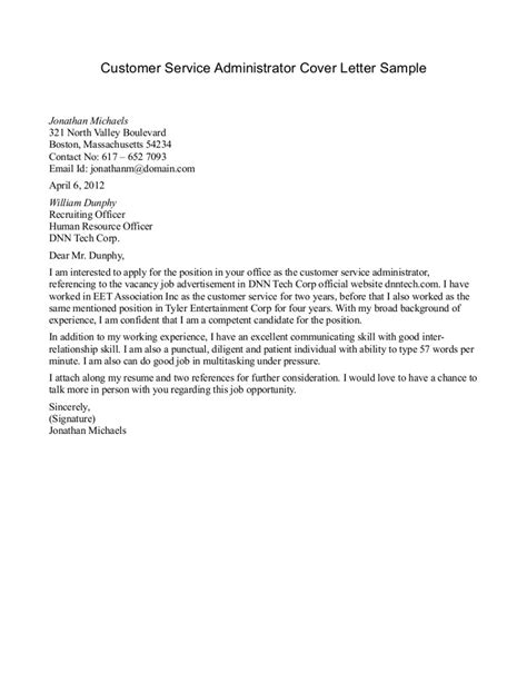 Customer Service Administrator Cover Letter Sample With