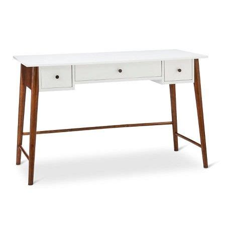 porter mid century modern two tone writing desk white