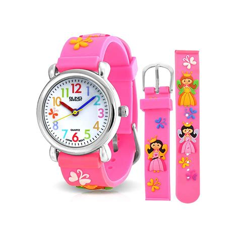 pink princess butterfly stainless steel back