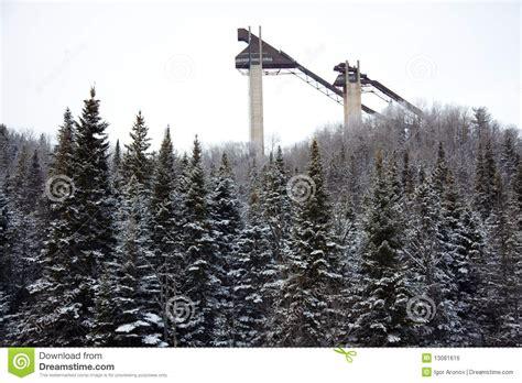 jump olympics ski jump towers at lake placid olympic stock photo