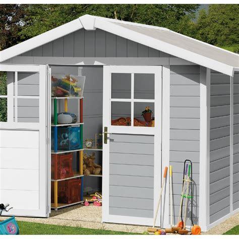 grosfillex abri de jardin abri de jardin en pvc 4 9m 178 deco gris clair et blanc grosfillex