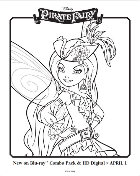 free silvermist the pirate fairy coloring sheet