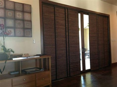 Woven Wood Panel Tracks Sliding Glass Door Ideas Panel Track Shades For Patio Doors