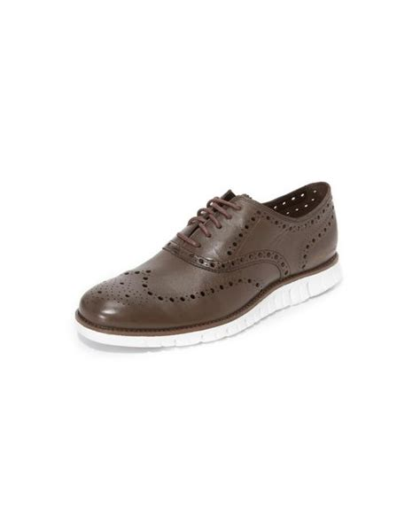 white wingtip oxford shoes cole haan zerogrand wingtip oxford shoes in white for