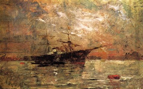twilight painting steamer at anchor twilight venice on canvas by