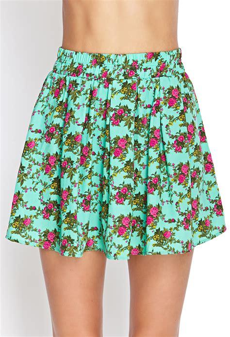 Forever 21 Flower Skirt lyst forever 21 floral print skater skirt in green