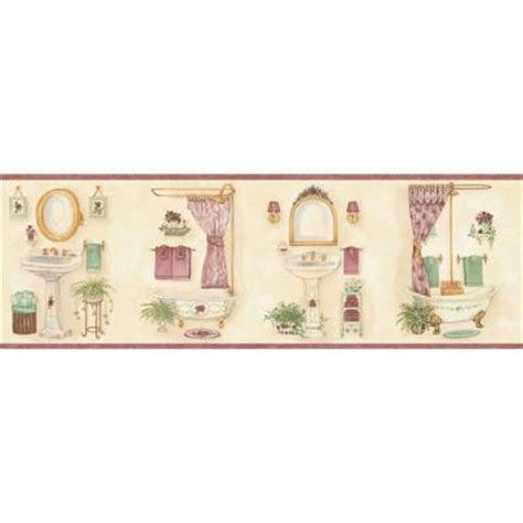 bathroom wallpaper borders home depot the wallpaper company 7 875 in x 15 ft pastel vintage bathroom border wc1283851 the home depot