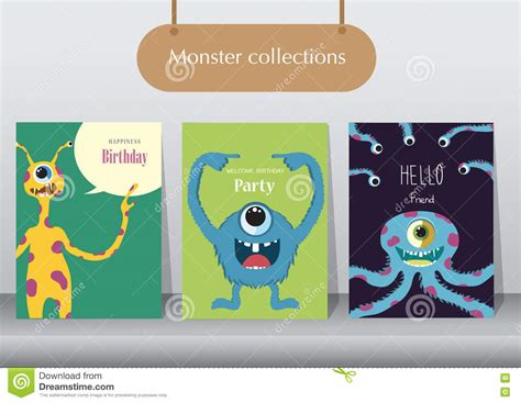 monsters student card template set of birthday cards poster template greeting cards