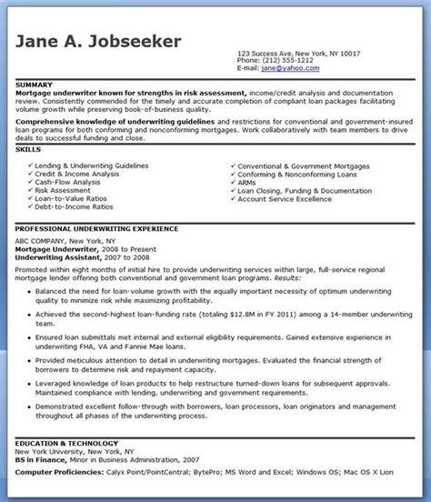 mortgage underwriter resume exles creative resume