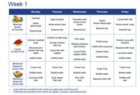 daycare menu anuvrat info