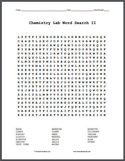 printable wordsearch for 11 year olds chemistry lab terms word search puzzle ii free printable