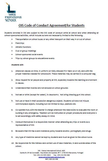 Registration Oeiras International School Code Of Conduct Contract Template