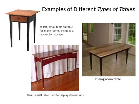 types of dining tables exles of different types of tables ppt