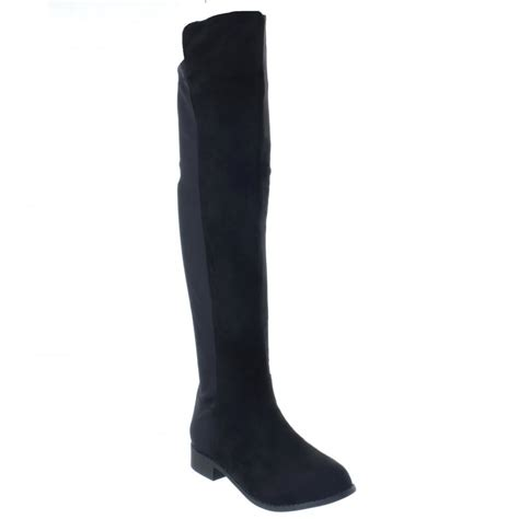 black faux suede elasticated back knee high flat boots
