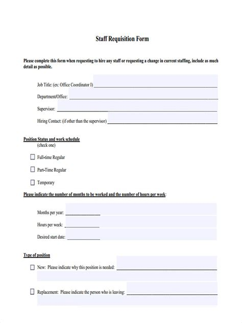 staff requisition forms  ms word