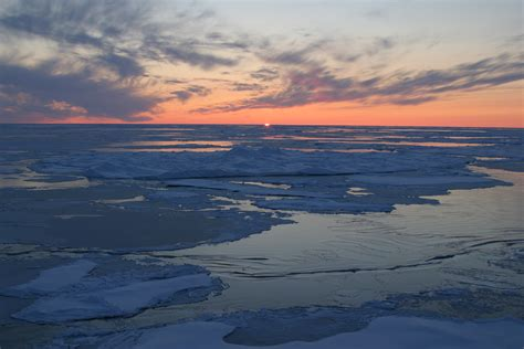 arctic sea sunset arctic
