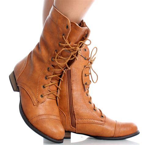 cognac brown toe lace up combat womens flat